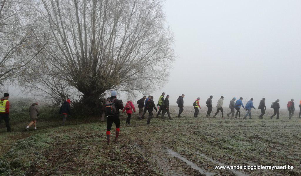 een sliert wandelaars in de mist